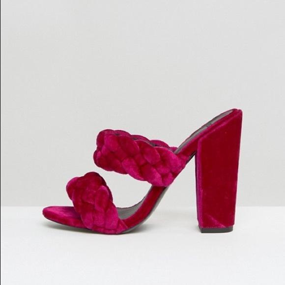 d7712ab51f9b ASOS Shoes - NEW ASOS Highgate Velvet Braided Pink Heeled Mules